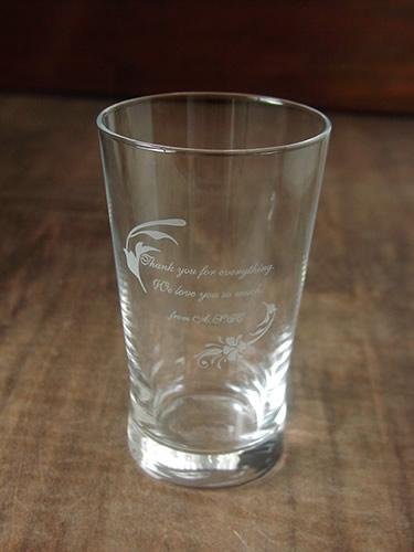 感謝のメッセージ入りグラス