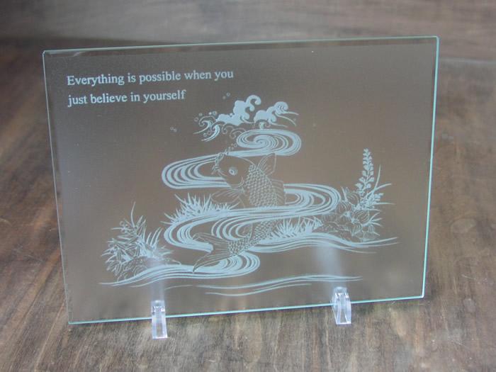 就任のお祝いにガラスのマウスパッド