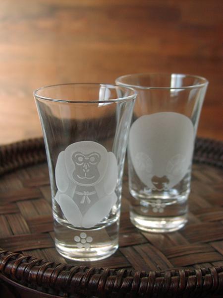 干支の酒グラス(申)